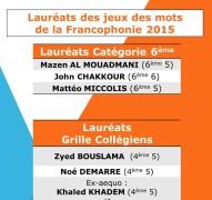 PALMARES 2015 - Jeux De Mots